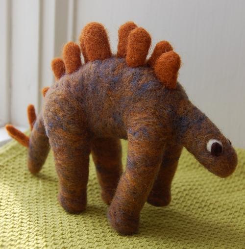 Needle felted stegosaurus dinosaur